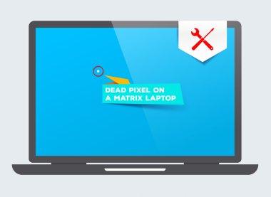 Dead pixel on a matrix laptop. Service maintenance. Repairs. Replacement defect parts.