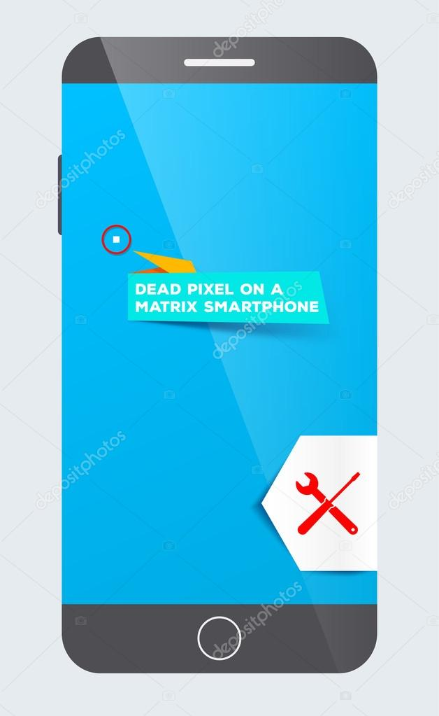 Dead pixel on a matrix smartphone. Service maintenance. Repairs. Replacement defect parts.