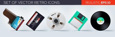 Set of retro icons. 35mm film, floppy disk, vinyl record, bobine, cassette. Vector illustration
