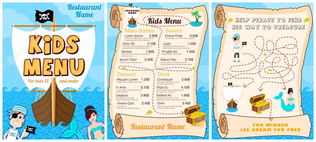 cute colorful kids meal menu with pirates game mermaid vector