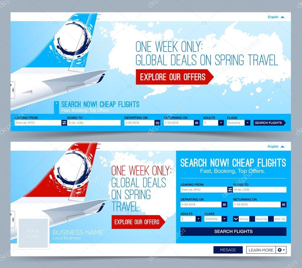 Buchung von Tickets Flug Vorlage. Flüge suchen. Web-Banner, Header ...