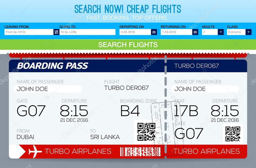 Buchung von Tickets Flug Vorlage. Flüge suchen. Vorlage-tickets ...
