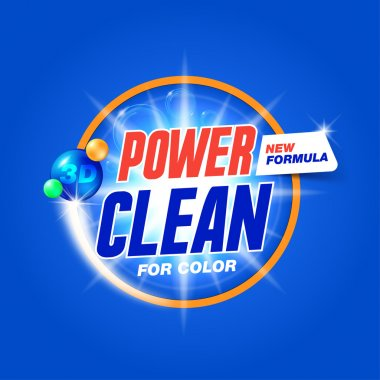 Power clean. Template for laundry detergent. Package design for Washing Powder & Liquid Detergents. Stock vector