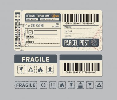 Parcel post. Packaging Labels