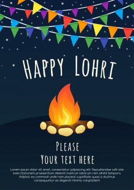 Happy Lohri celebration. Happy Lohri background with bonfire. Creative poster. Happy Lohri Festival