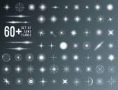 Velká sada realistické objektivu světlice hvězda světla a záře bílé prvky na průhledném pozadí. Vektorové ilustrace