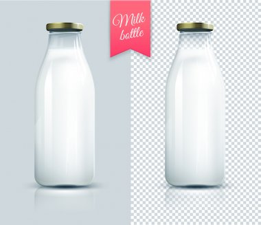 Traditional glass milk bottle. Bottle of milk isolated.