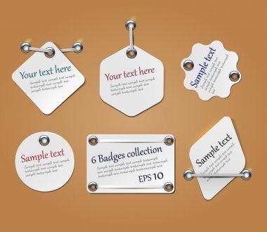 Blank sale tags mock up set. Hanging tags with a string. Shopping label with place for price and discount captions. Vector illustration.