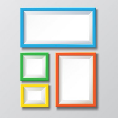 Colorful blank picture frame.