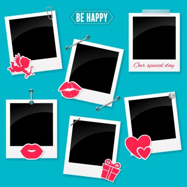 Set of retro photo frame for your love story of Valentine's day clip art vector