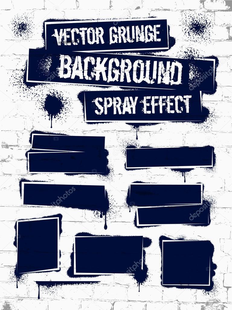 Verschiedenen Sprühfarbe-Graffiti an der Wand. Rahmen mit schwarzer ...