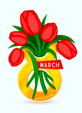 8 March, International Women's Day, eps 10. It can be used to greeting card template. Bouquet of tulips