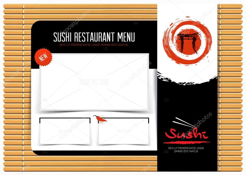 Menú de restaurante cafetería en estera de bambú. diseño de ...