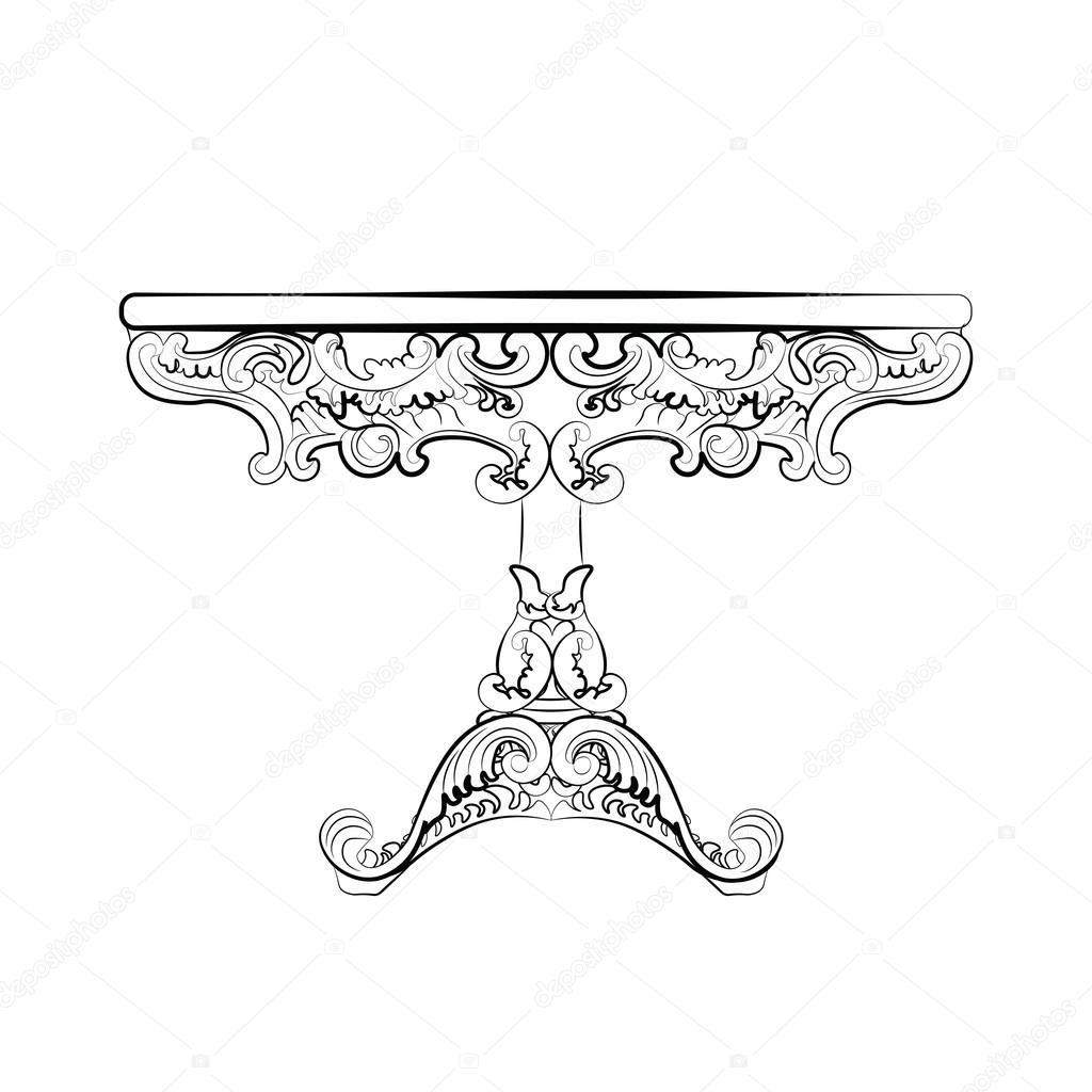Klassieke Ronde Tafel.Elegante Klassieke Ronde Tafel Stockvector C Inagraur