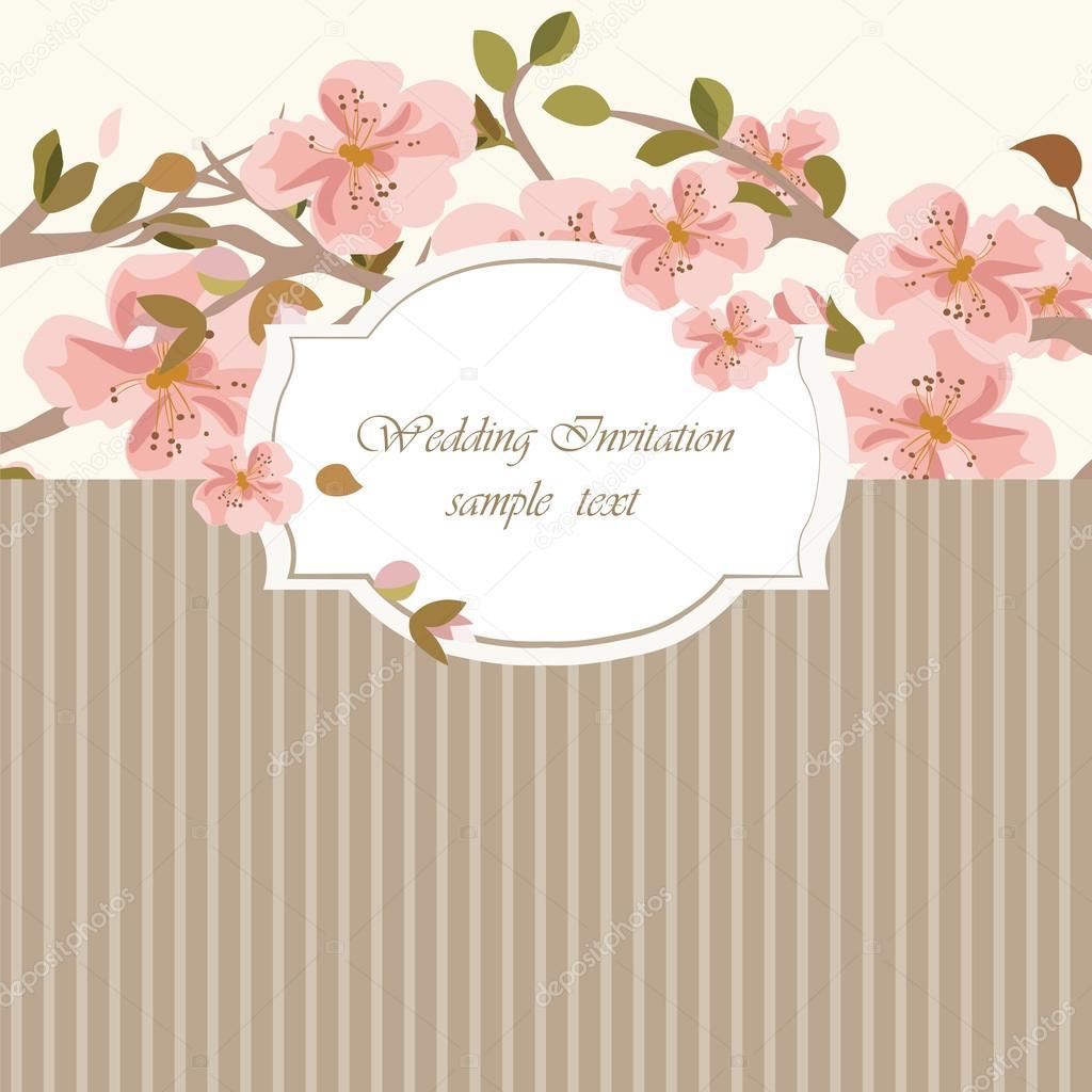 vintage invitation card watercolor flowers ストックベクター