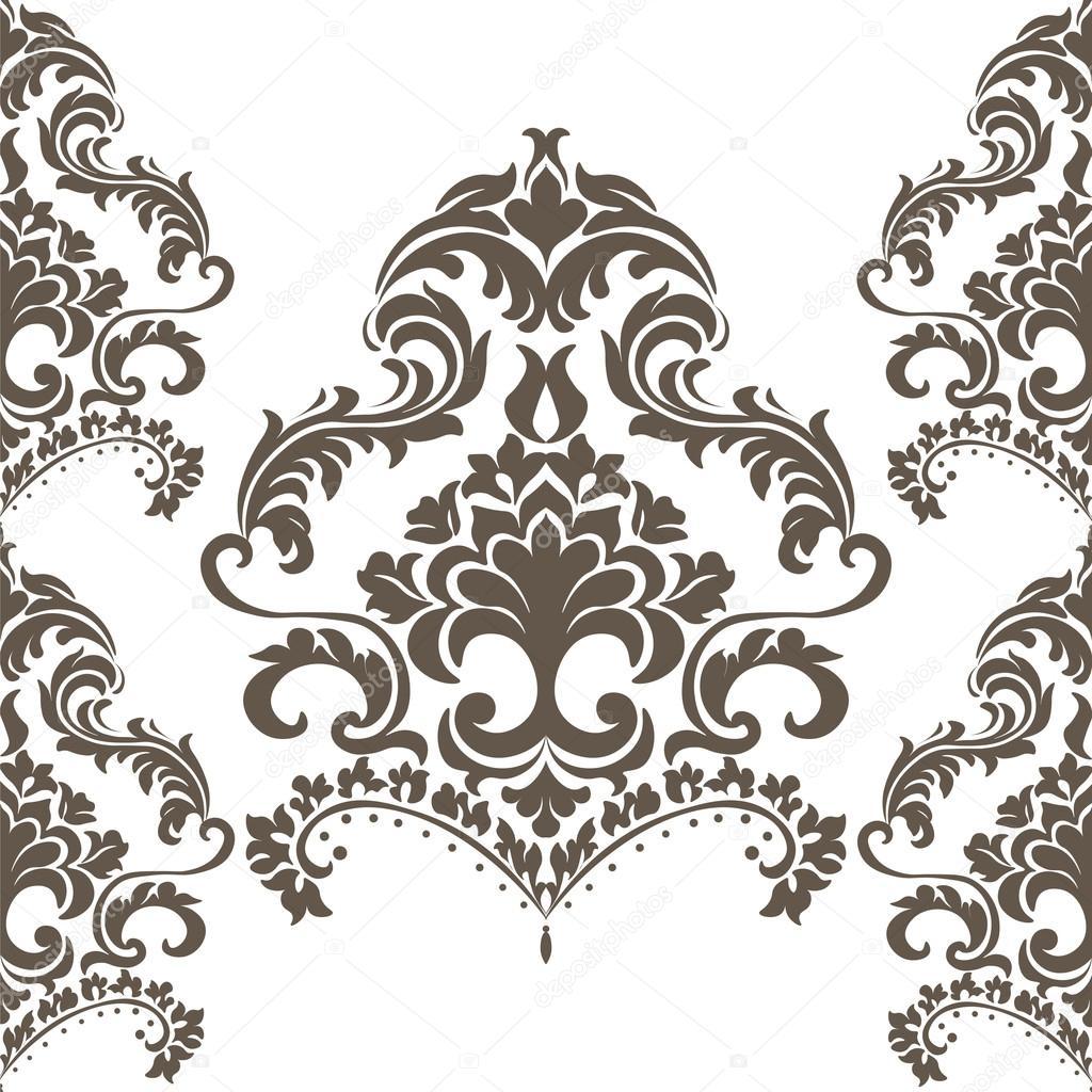 Ornement Vintage Damask Pattern Vector Dans Un Style
