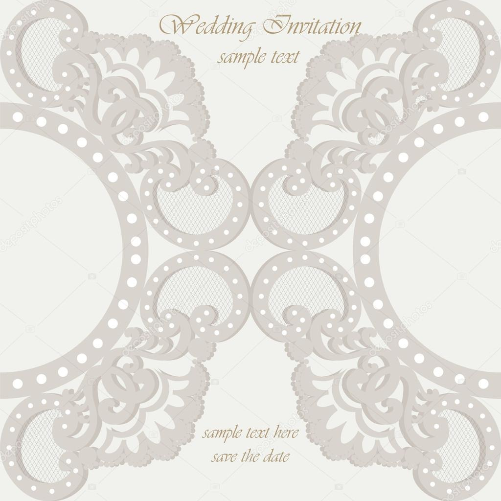 Vector invitation card ornamental lace with damask elements vetor vector invitation card ornamental lace with damask elements elegant lacy feather decoration greeting card wedding invitation or announcement template stopboris Choice Image