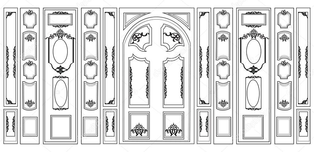 Vektor Wandvertäfelungen dekorative Damast verziert Rahmen für Wände ...