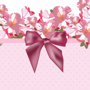 Pink flowers bouquet card with shinny bow