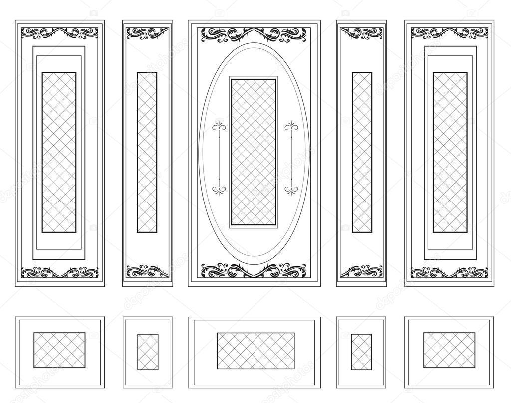 Vector wall frames wainscoting decorative damask ornamented vector wall frames wainscoting decorative damask ornamented stock vector jeuxipadfo Gallery