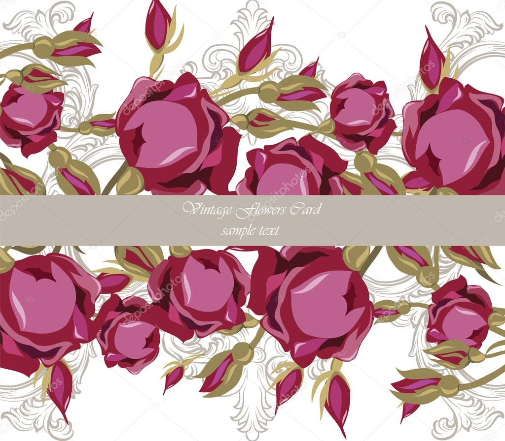 Vintage Watercolor Roses Flowers — Stock Vector © inagraur.ymail.com ...