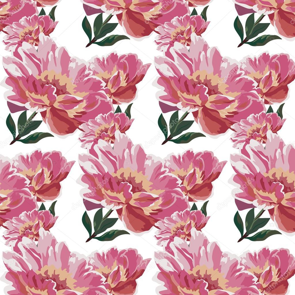 Watercolor Spring Flowers Peonies Pattern Stockvektor Inagraur