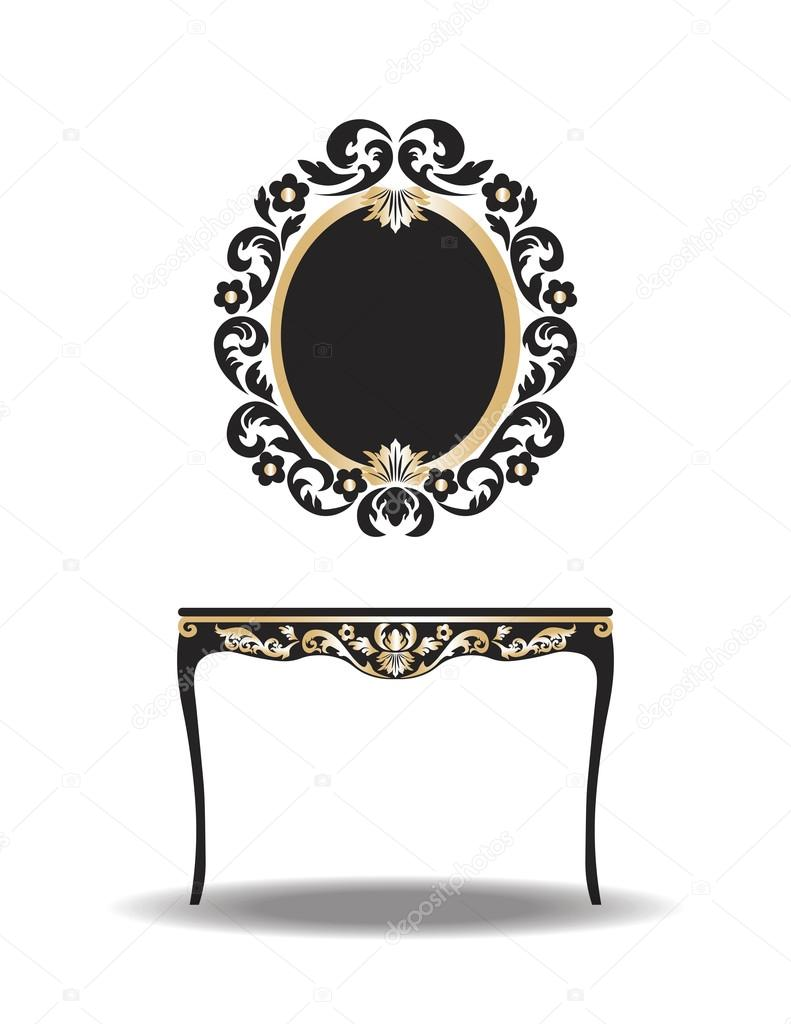 Vintage Barock Möbel Tisch und Spiegel-Rahmen — Stockvektor ...