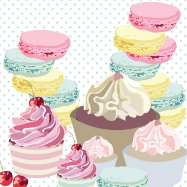 Cupcakes and Macaroons on dotted retro background