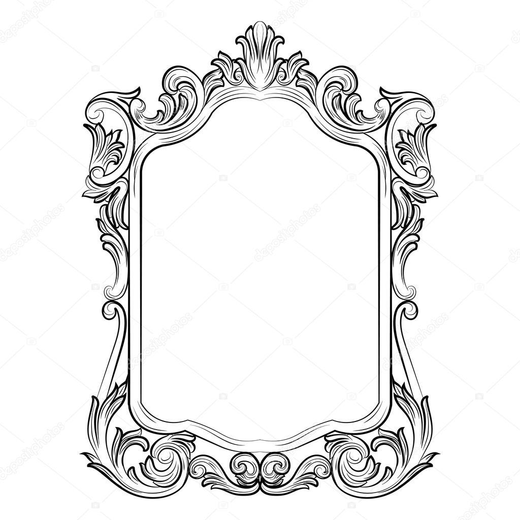 Decoración de marco de espejo Rococo barroco — Vector de stock ...