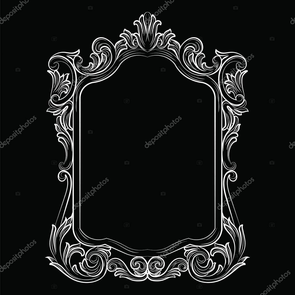 Barock Rokoko-Spiegel Rahmen Dekor — Stockvektor © inagraur.ymail ...