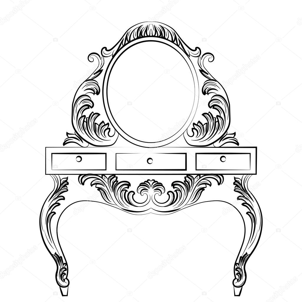 Vector Baroque Furniture Dressing Table And Round Mirror Frame Image Vectorielle