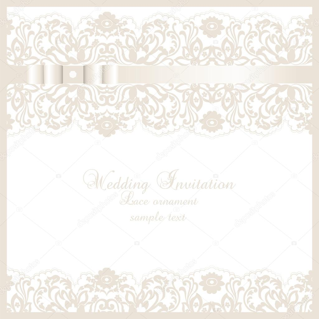 vector wedding invitation card with lace floral ornament ストック