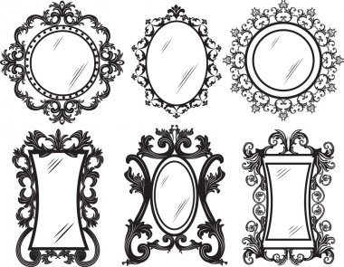 Set of Vintage Retro Vector frames