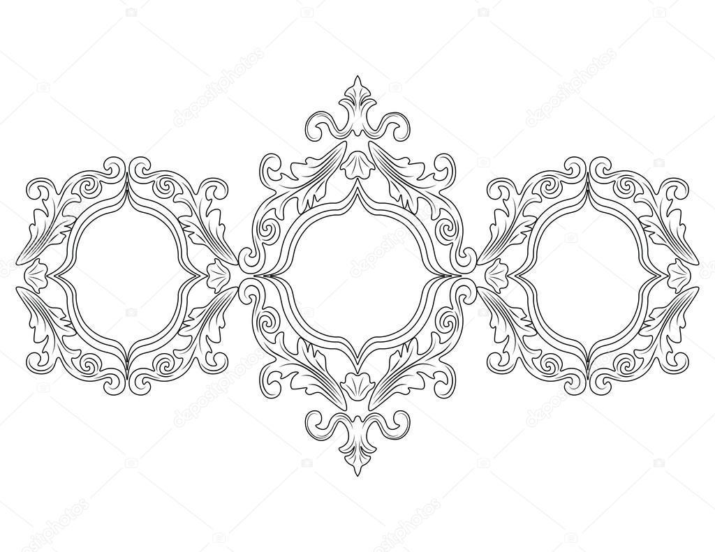 Decoración de marco barroco Rococo — Archivo Imágenes Vectoriales ...