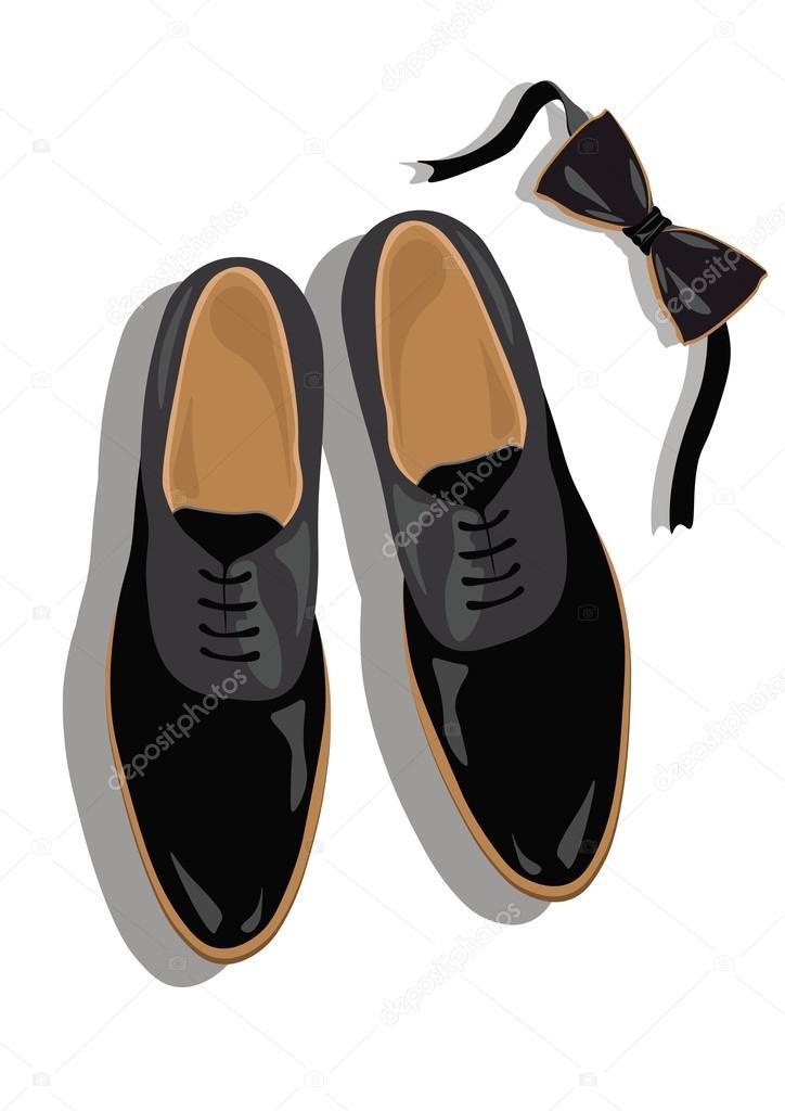 0cb918b7f13dee Вид зверху чорний класичного чоловічого взуття. Чорний елегантні туфлі і  Лука вектор — Вектор від inagraur.ymail.com