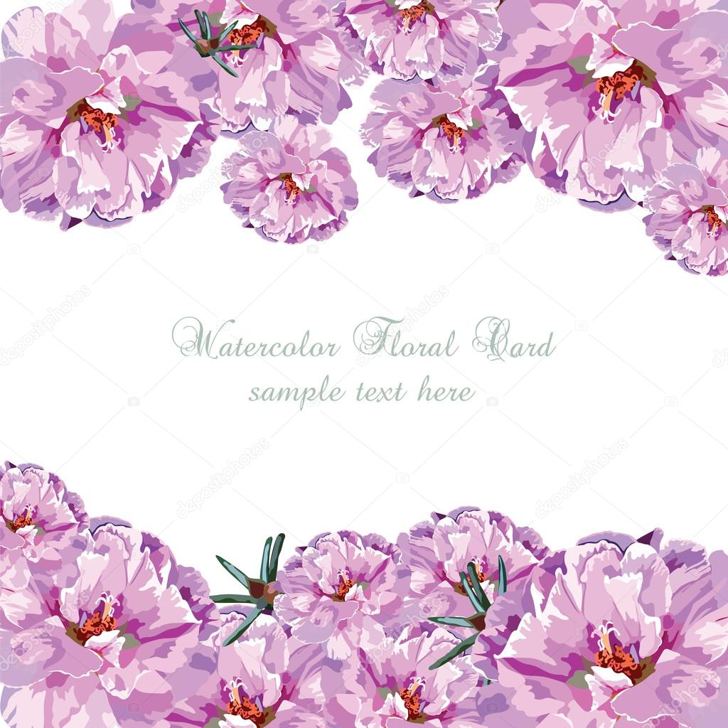 Greeting Card With Pink Watercolor Flowers Image Vectorielle