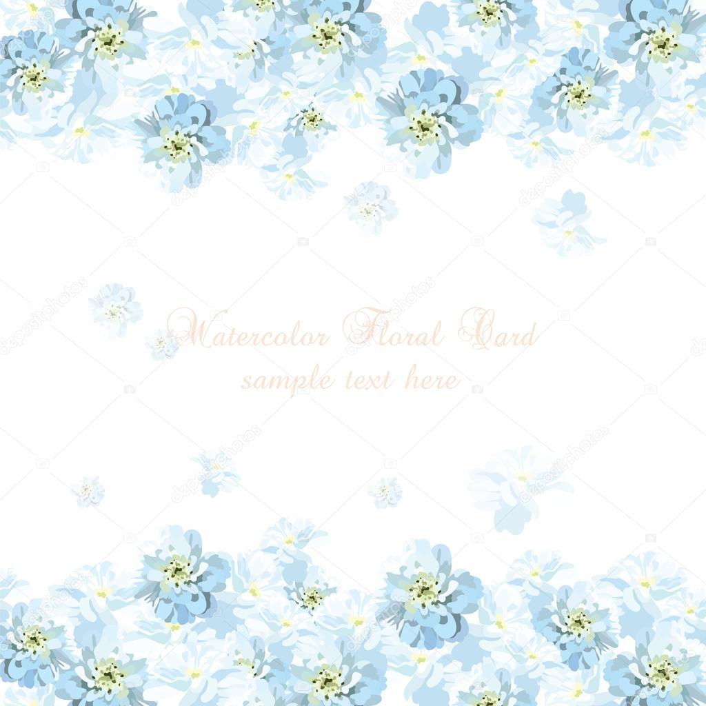 Hermosa Tarjeta Azul De Acuarela De Flores Vector De Stock