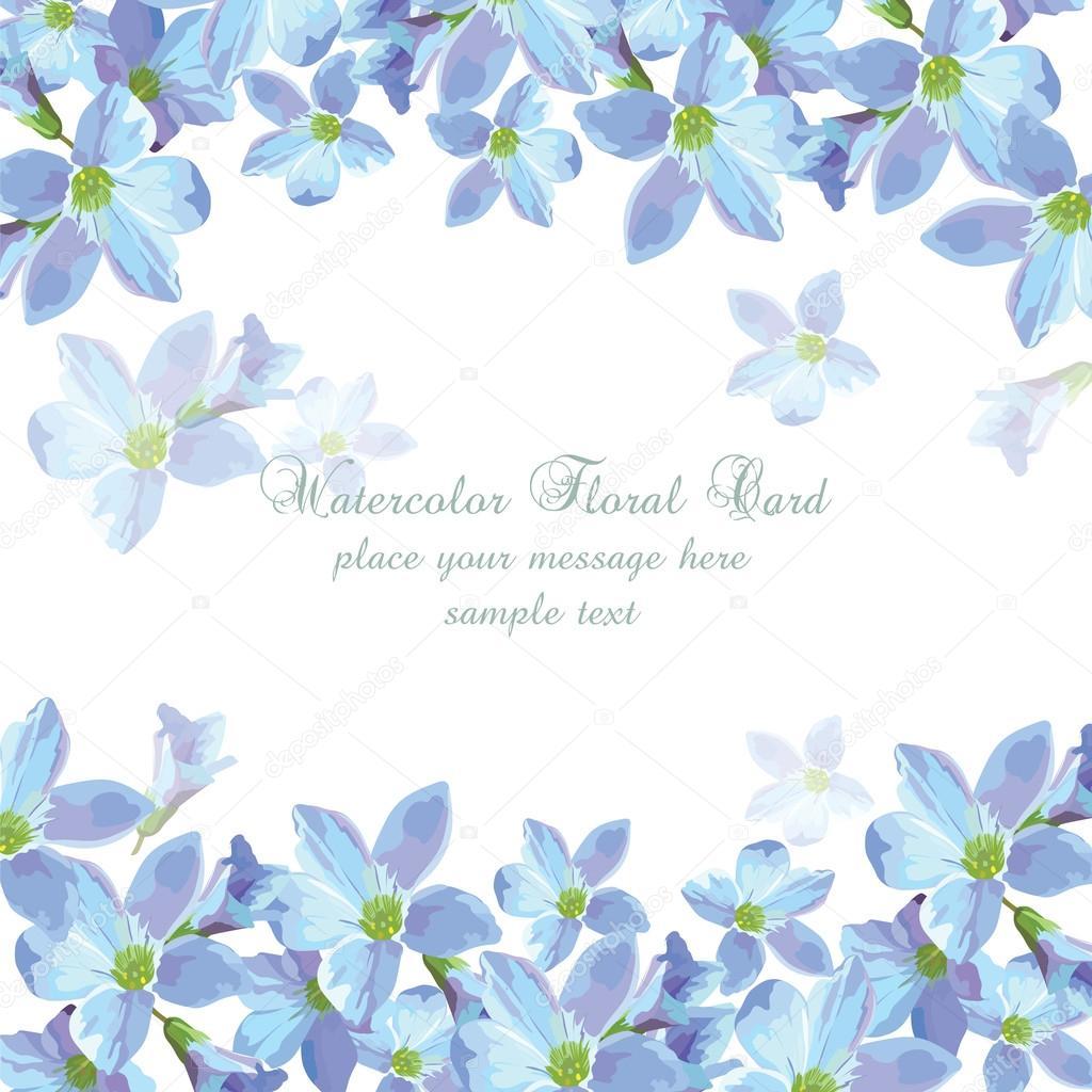 Fondo Flores Azules Vintage Tarjeta De Flores Acuarela Azul Fondo