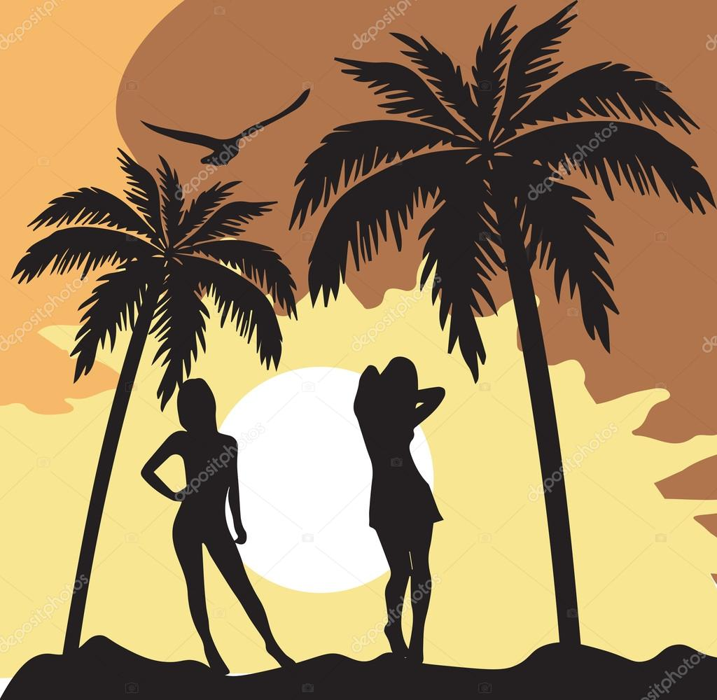 Summer Card with women silhouette