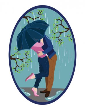 Romantic couple kissing in the rain Vector illustration stock vector