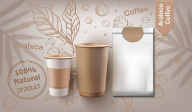 Coffee cups and pack set vector realistic. Natural leaves and beans background. Label design product placement mock up icon