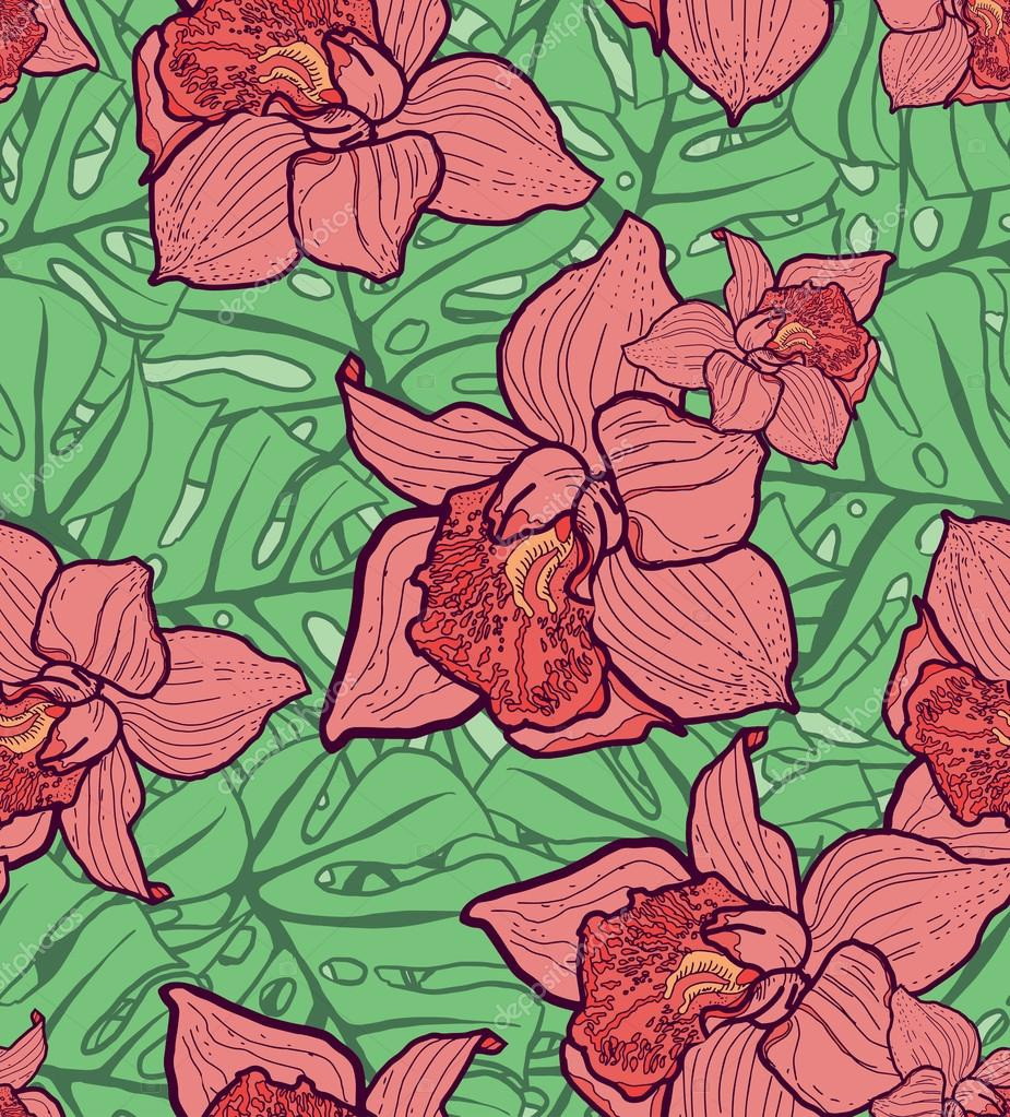 Colorful seamless pattern with leaves and orchids