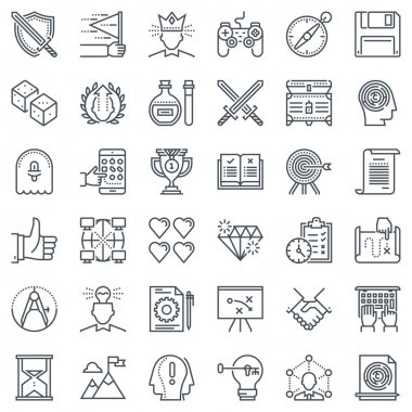 Game design icon set suitable for info graphics, websites and print media and  interfaces. Line vector icon set. clip art vector