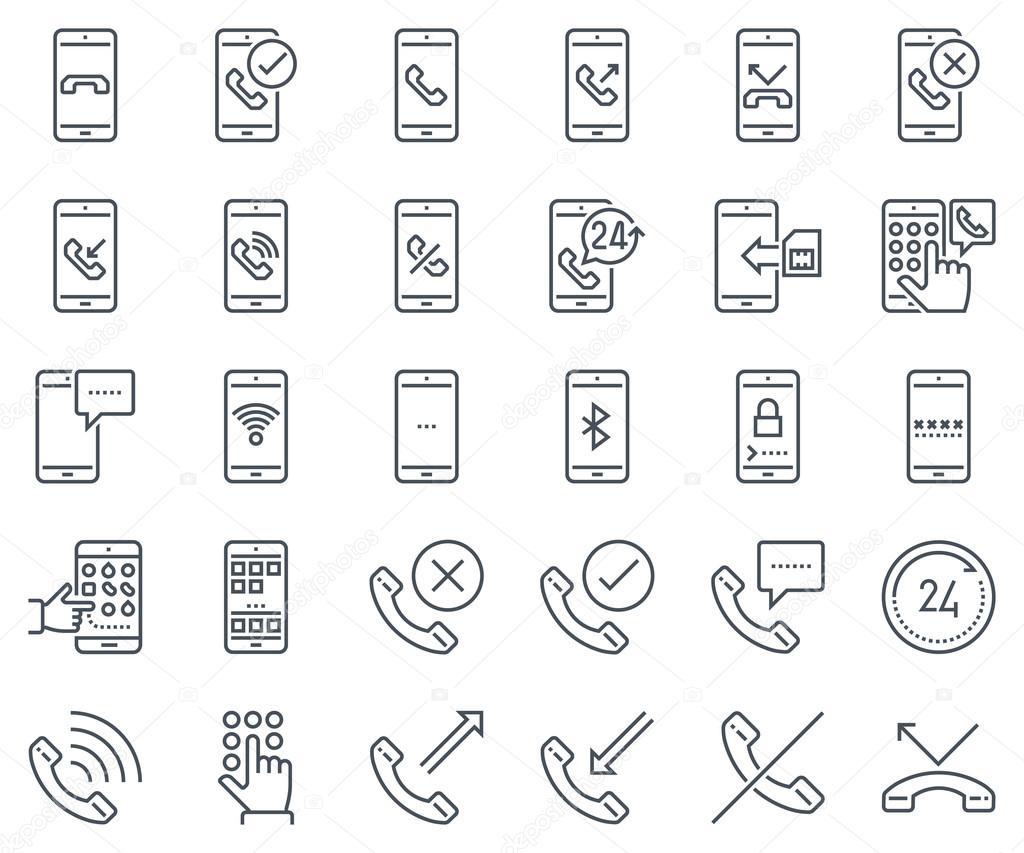 Phone calls, mobile phone icon set