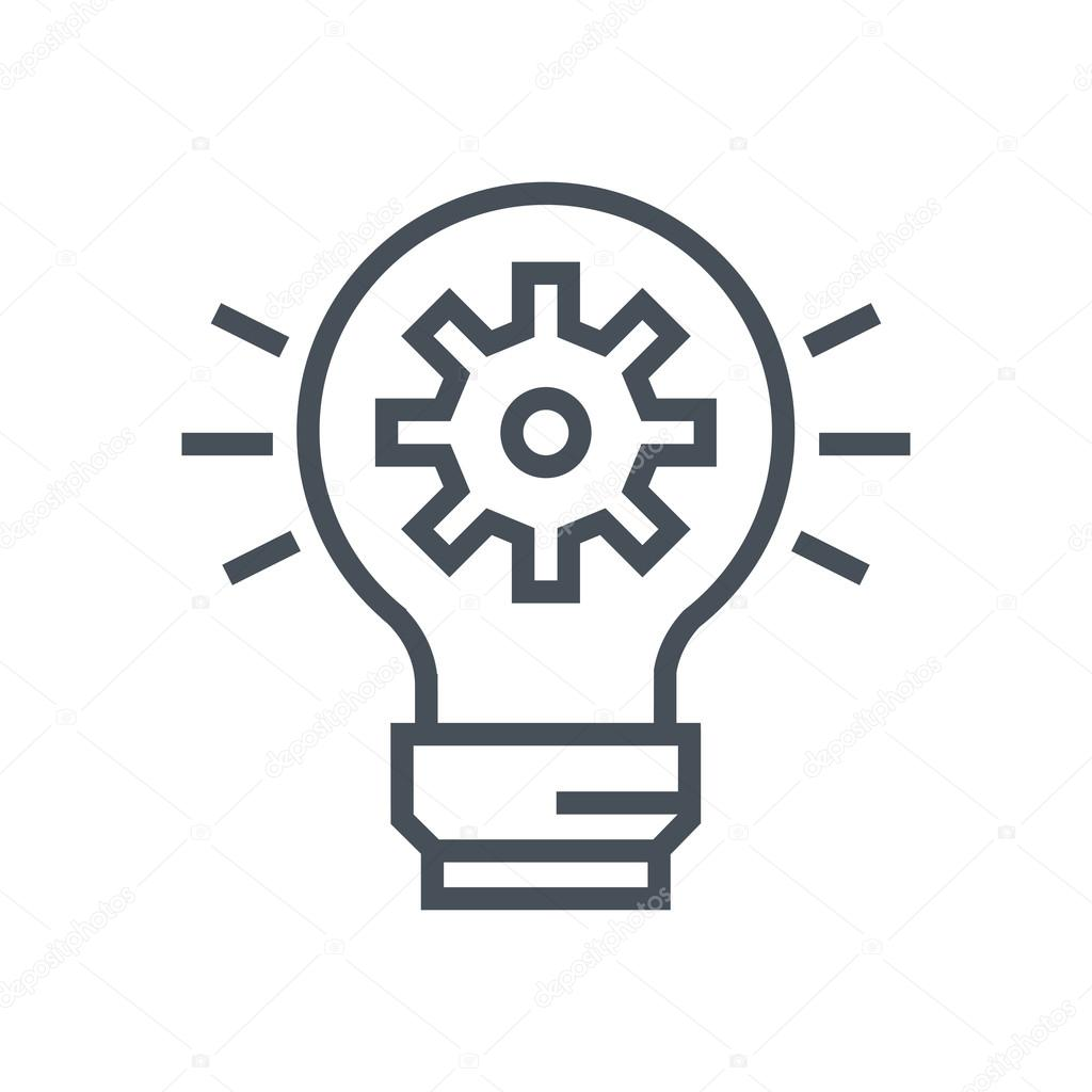 Lamp, Idea Icon Suitable For Info Graphics, Websites And Print Media And  Interfaces. Line Vector Icon.