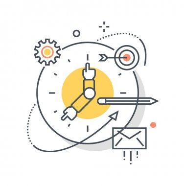 Clock, work hours concept illustration