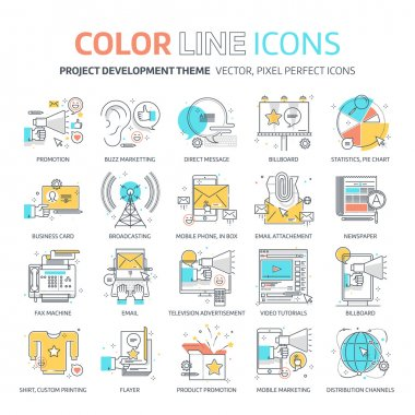Color line, marketing concept illustrations, icons