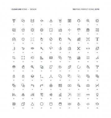 Design, clear line icons
