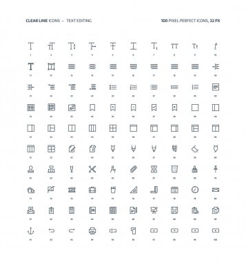 Text editting clear line icons