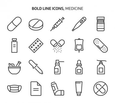 Medicine, bold line icons. The illustrations are a vector, editable stroke, 48x48 pixel perfect files. Crafted with precision and eye for quality. icon
